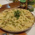 Para o domingo: fusilli com molho de queijo, cogumelos e ervilhas