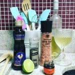 Camarão no azeite e purê de batata doce