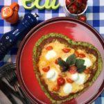 Dia da pizza: massa de brócolis com cobertura  margherita