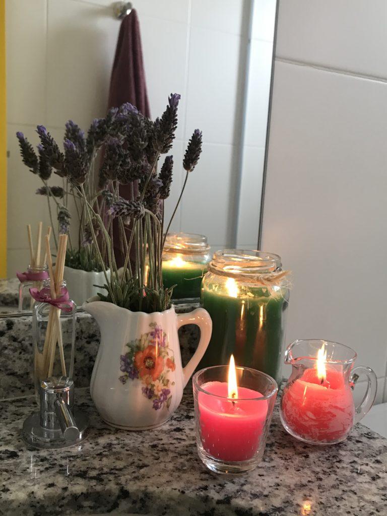 velas para um spa em casa