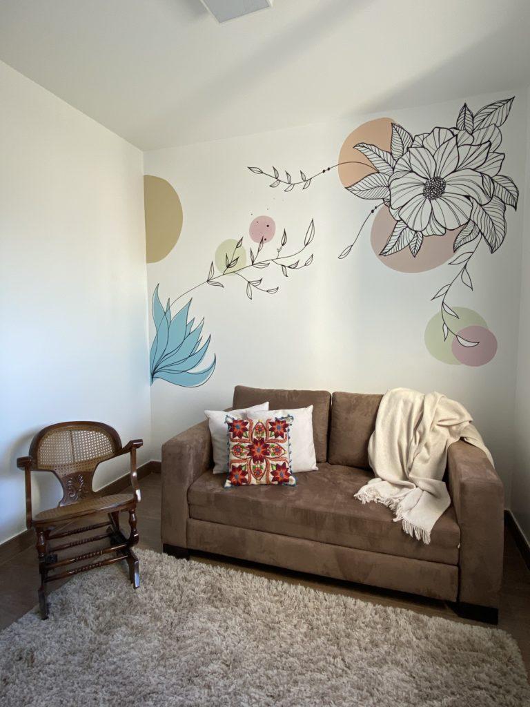 Minha parede de flores do home office